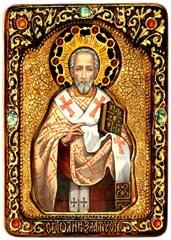 Инкрустированная живописная икона Святитель Иоанн Златоуст 29х21см на натуральном кипарисе в подарочной коробке