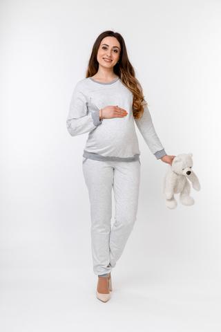 Утепленный спортивный костюм для беременных и кормящих 10123 серый