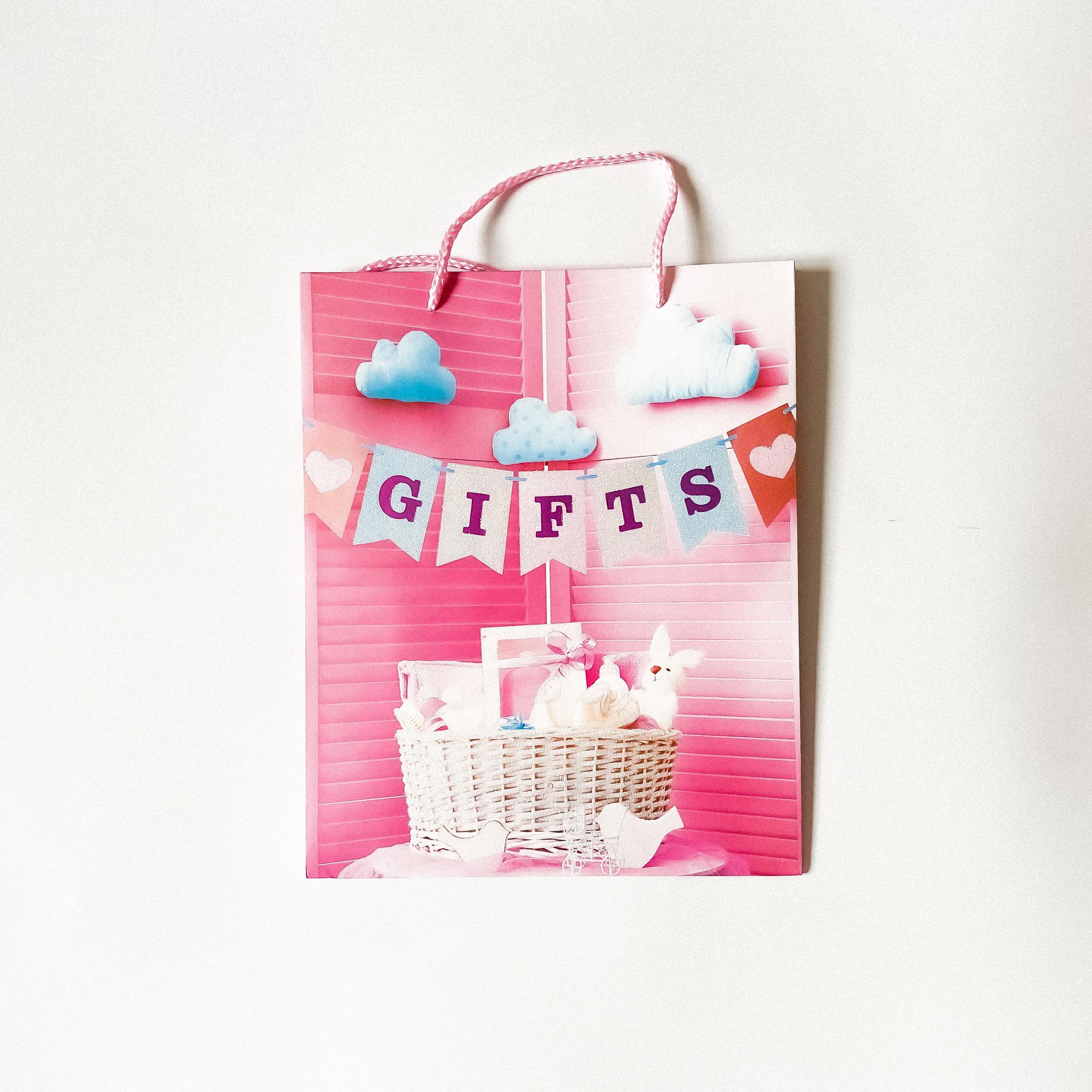 Подарочный пакетик Розовый с блёстками