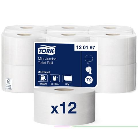Бумага туалетная в рулонах Tork Universal 1-слойная 12 рулонов по 200 метров (артикул производителя 120197)