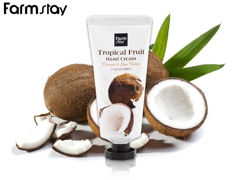 Крем для рук с маслом ши и кокосом FARMSTAY  Tropical Fruit Hand Cream 50 мл.