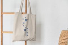 Сумка-шоппер с принтом Цветы (Васильки) бежевая 002