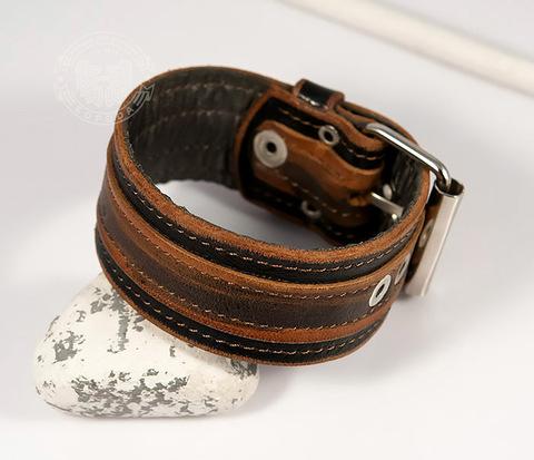 BL445 Красивый браслет напульсник из двух слоев кожи