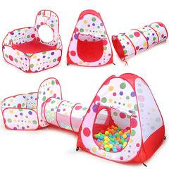 Палатка+туннель+бассейн, 3 в 1, Красный