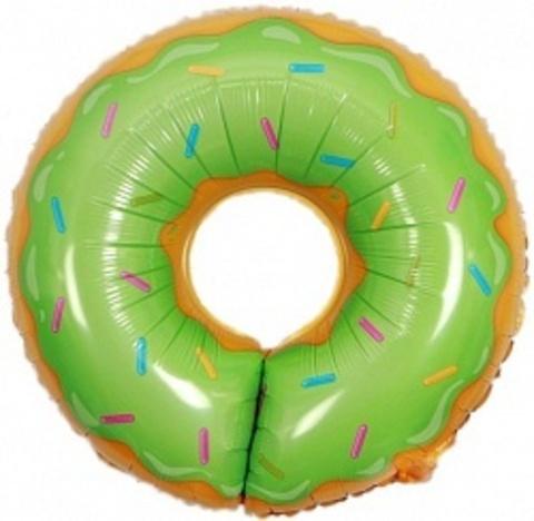Фольгированный шар Пончик зеленый