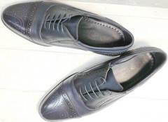 Классические туфли мужские демисезонные Ikoc 3805-4 Ash Blue Leather.