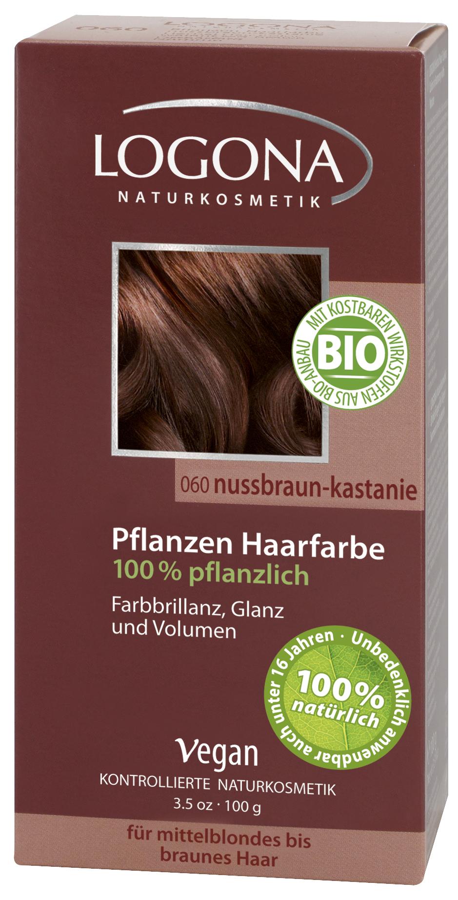 LOGONA растительная краска для волос 060 «ОРЕХ КРАСНО-КОРИЧНЕВЫЙ»