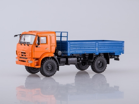 KAMAZ-43502 flatbed truck orange-blue 1:43 PAO KAMAZ