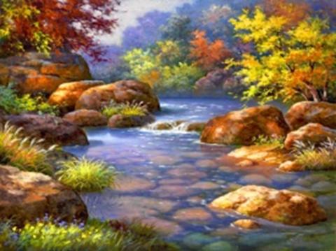 Картина раскраска по номерам 40x50 Речка среди камней