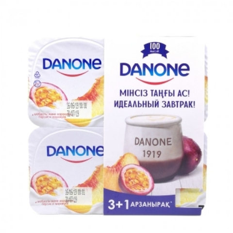 Йогурт DANONE Персик Маракуйя 4*120 г КАЗАХСТАН