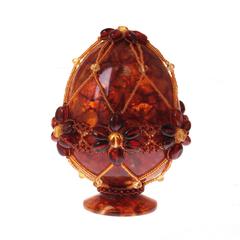 Сувенирное Пасхальное яйцо (натуральный янтарь, бисер), АВ-0393