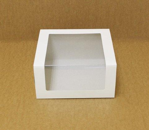 Коробка для торта с окном  22.5*22.5*11 см, белая/белая