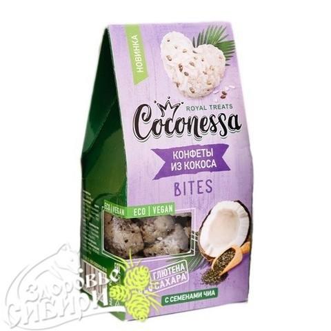 Конфеты кокосовые, Семена чиа, 90 гр, Coconessa