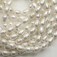 5821 Хрустальный жемчуг Сваровски Crystal White  грушевидный 11х8 мм