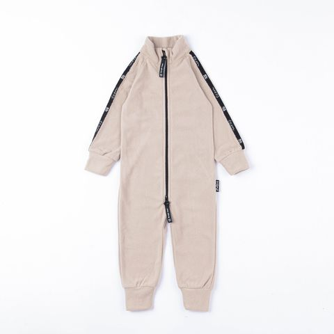 Thermal fleece jumpsuit with stripes - Beige