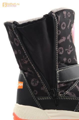 Зимние сапоги для мальчиков с мембраной KINGTEX Фиксики на молнии, цвет черный. Изображение 18 из 19.