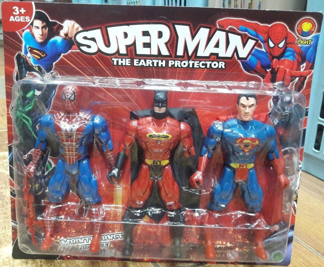 Человек-Паук, Бэтмен, Супермен светящиеся(ноги шарнирные)
