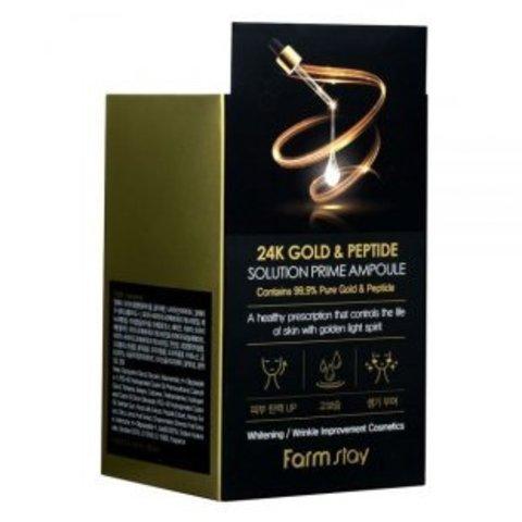 Омолаживающая сыворотка с пептидами и золотом FarmStay 24K Gold & Peptide Solution Prime Ampoule