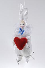 Ёлочная игрушка Мальчик-Зайчик с сердцем
