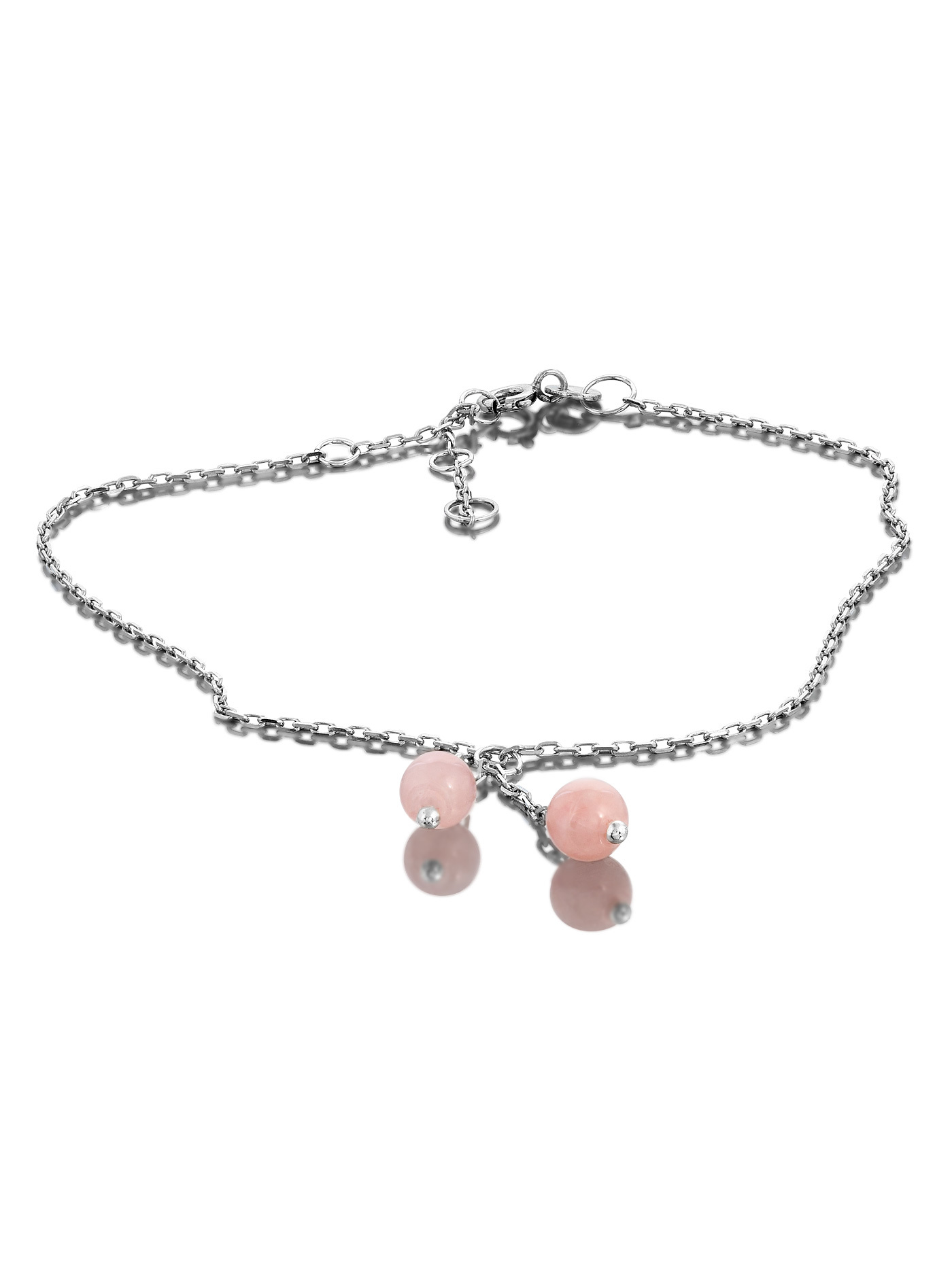 Серебряный браслет на ногу, анклет, с розовым кварцем