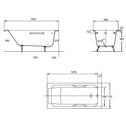 Ванна  чугунная Jacob Delafon Parallel 150x70 E2949-00
