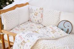 Бортики-защита в кроватку из сатина от комплекта Верона - 2 Зверята +сердечки