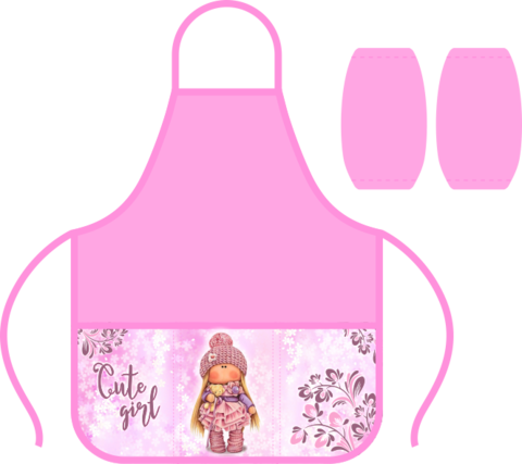 Фартук д/труда 3 карман., с нарук., Кукла с мишкой