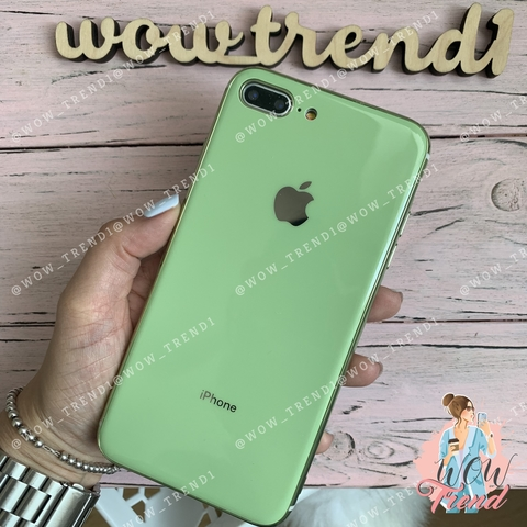 Чехол iPhone 7/8 Plus Glass Silicone Case Logo /mint gum/