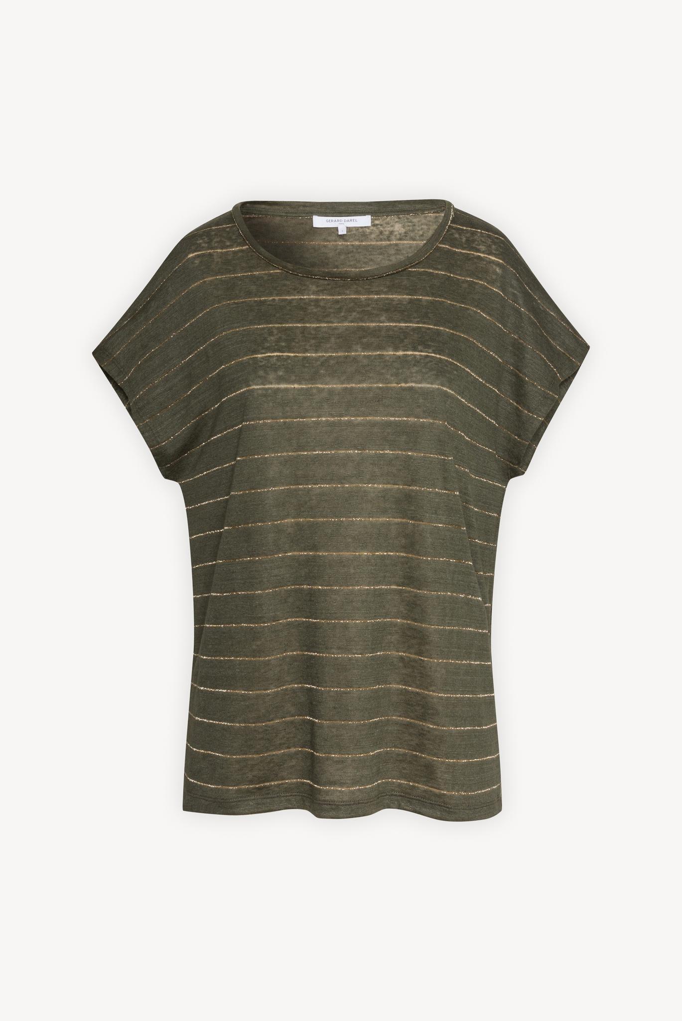 Льняная футболка с люрексовыми полосками