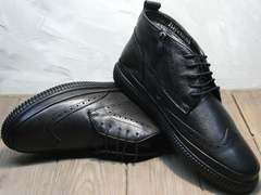 Зимние ботинки на цигейке мужские Rifellini Rovigo C8208 Black