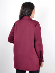 Ріана. Жіноча сорочка з шкірою plus size. Бордо.