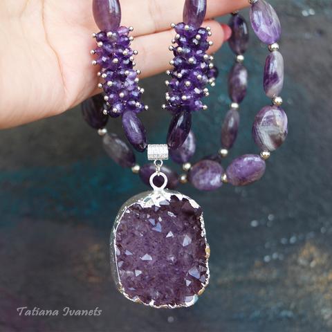 Длинное ожерелье из натурального аметиста