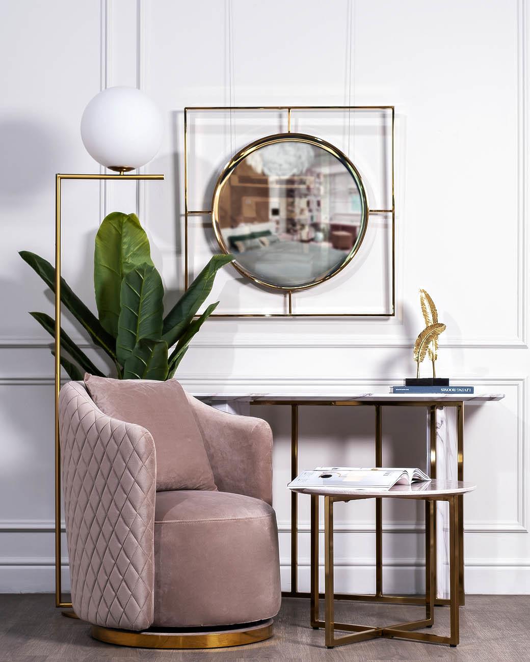 19-OA-5892 Зеркало золотое 80х80 см