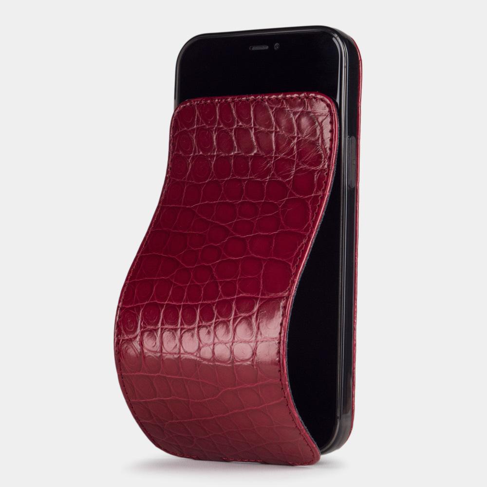 Special order: Чехол для iPhone 12/12Pro из натуральной кожи аллигатора, цвета красный лак