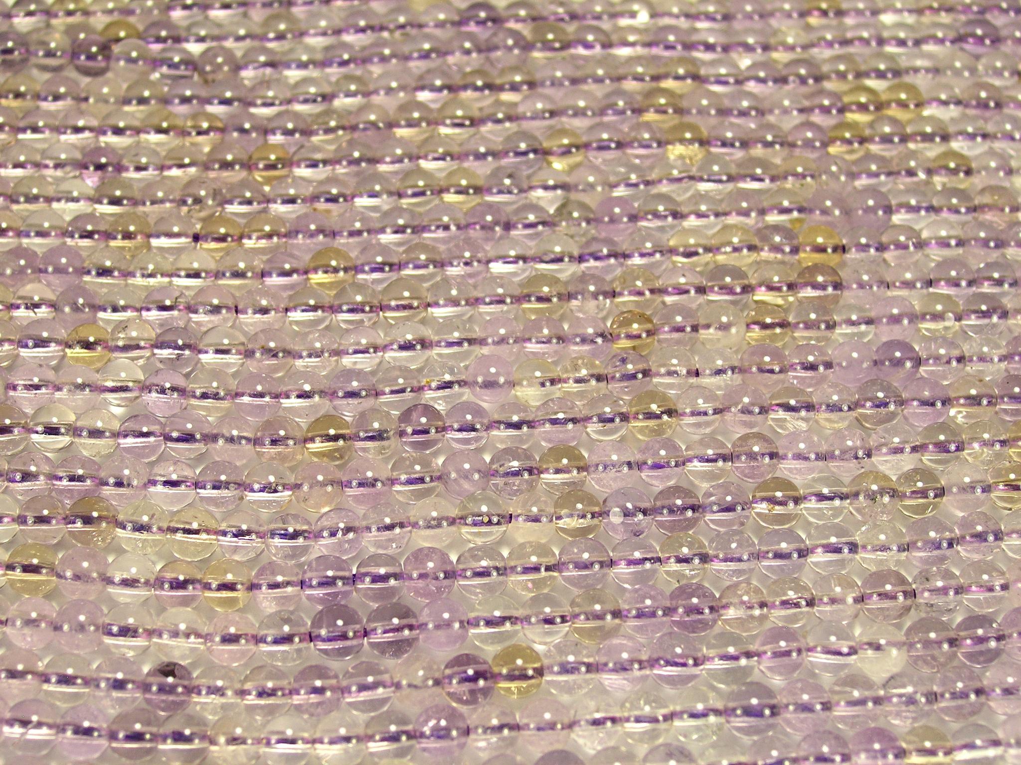 Нити бусин из аметрина, шар гладкий 4мм (оптом)