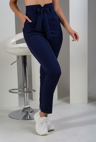 Стильные брюки с высокой талией. Синий