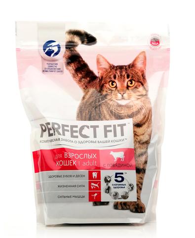 Perfect Fit Adult сухой корм для взрослых кошек (с говядиной) 650 г