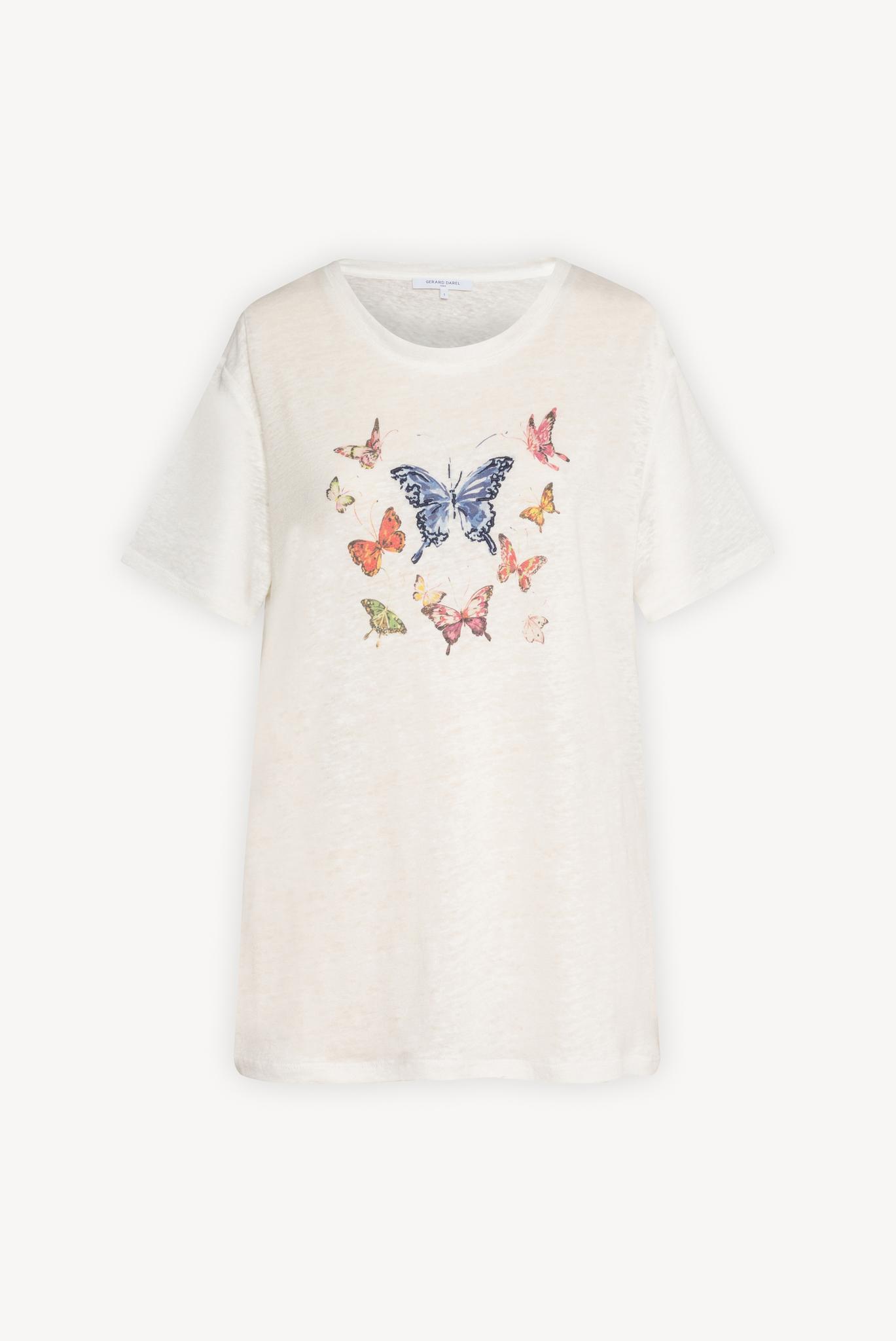 JOSEPH - Льняная футболка с принтом в виде бабочек
