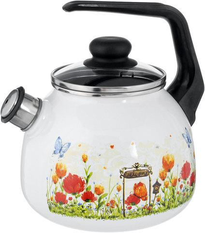 Чайник эмалированный 3 литра со свистком Голландский белоснежный (4) Северсталь-Эмаль 4с209я