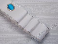 Лента репсовая Белая с люрексовой серебряной каймой 38 мм