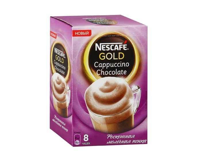 Напиток кофейный Nescafe Gold Cappuccino Chocolate 8 пак/уп, (Нескафе)
