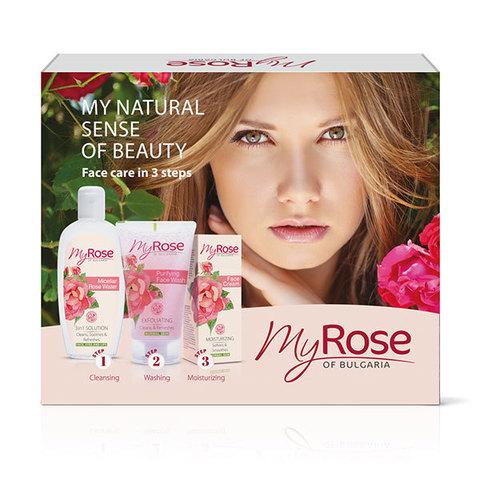 Подарочный набор 3 (Мицелярная розовая вода + Очищающий гель для лица + Увлажняющий крем крем для лица)