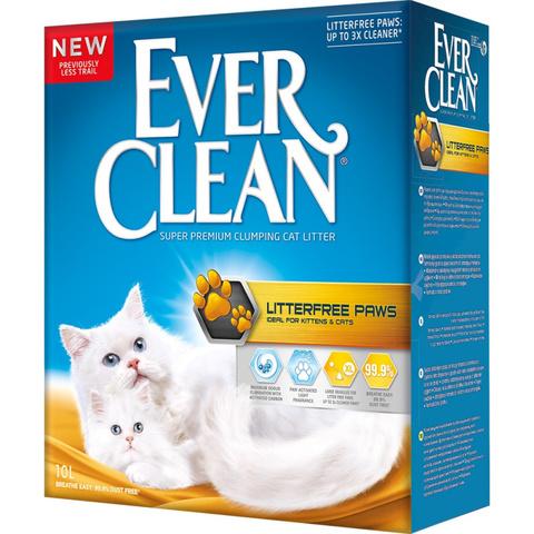 Наполнитель Ever Clean LitterFree Paws Наполнитель для туалета кошек, для идеально чистых лап комкующийся (желтая полоска) 10 кг