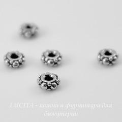Бусина - спейсер TierraCast 4х2 мм (цвет-античное серебро), 5 штук