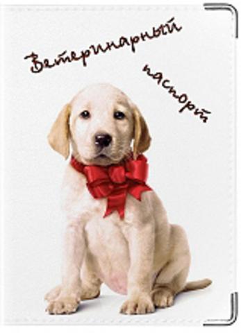 """Обложка для ветеринарного паспорта """"Лабрадор"""" (белый щенок)"""