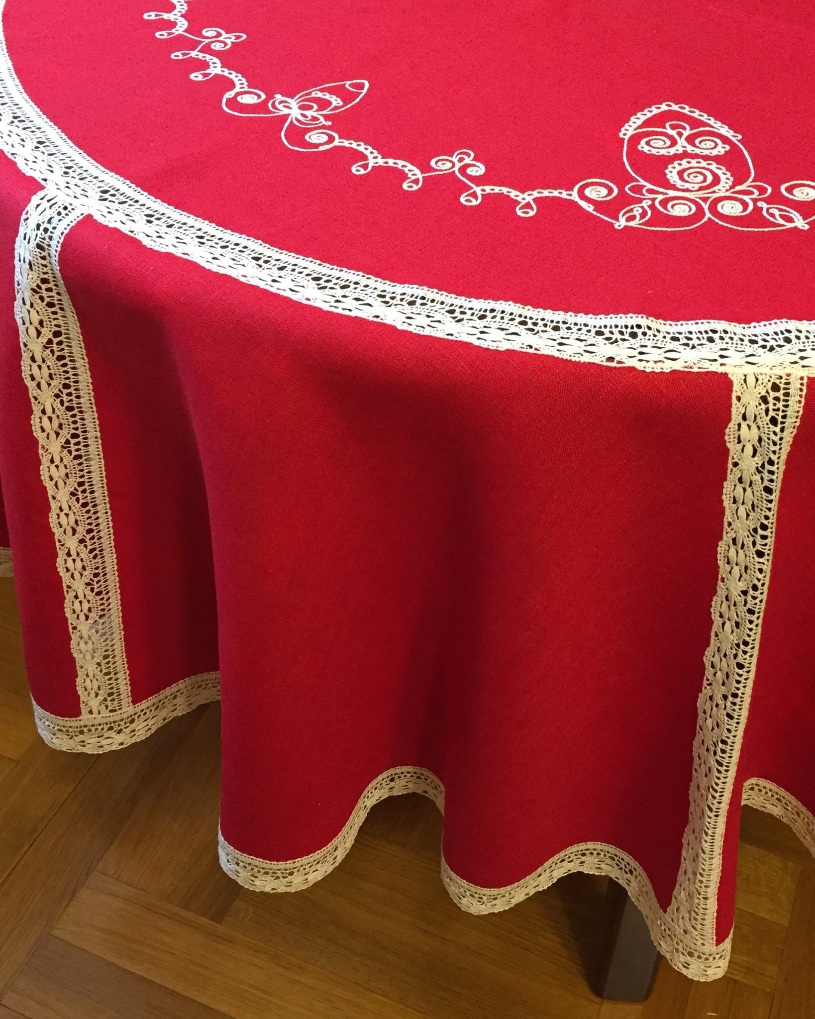 Скатерть круглая пасхальная с кружевными прошвами и вышивкой