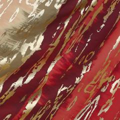 Хлопок с красными разводами и металлизированным принтом