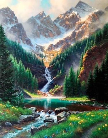 Алмазная Мозаика 40x50 Горная река (арт. HWSA5159)