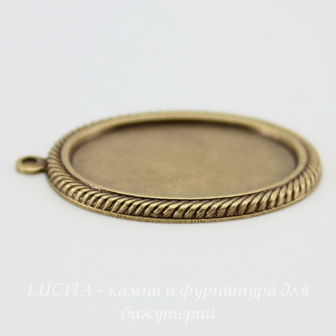 """Сеттинг - основа - подвеска """"Плетенка"""" для камеи или кабошона 25х18 мм (оксид латуни) ()"""