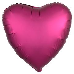 Шар сердце сатин гранатовый